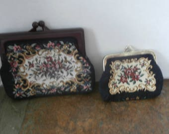 1930s Tapestry Purse and Matching Coin Purse