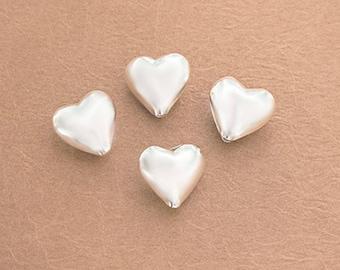 4 of Karen Hill Tribe Silver Plain Heart Beads 11.5mm.  :ka4356