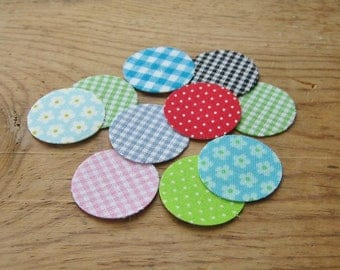 """Handmade Cotton Fabric Stickers Hand Crafted 1"""" Round Gingham Flower Polka Dot - 10 quantity"""