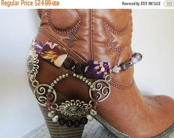 SALE Shabby Chic and girly BOOT JEWELRY for wearing as dressy formal wear for your boots with purple and silver chains