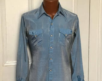 50's Vintage Men's Rockmount Rayon Silver Western Shirt Rodeo sm/med.