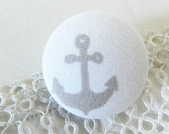 White fabric button, anchor grey, 32 mm in diameter