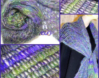 Marled mohair wrap in 3 brushed mohair yarns - Knit Kit
