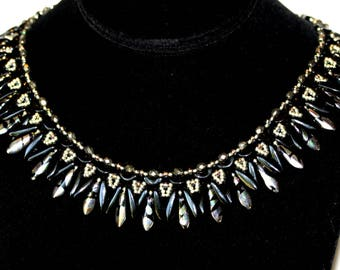 Ruffles Beadweaving Necklace,Silver Painted Daggers,Black Silver Necklace,Arcos,Chrome,Statement Necklace,jewelry,Amy Johnson Designs NX1536