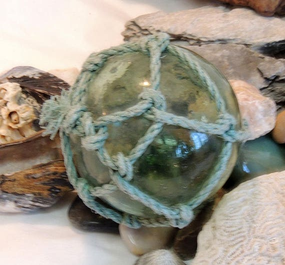 Rare Vintage Japanese Glass FISHING FLOAT.. Water Trapped Inside, Moss Green & Many Bubbles (#61)