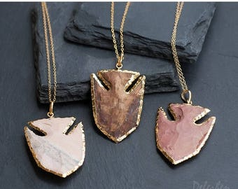 40 OFF - Jasper Arrowhead Pendant - Fish Pendant - Tribal Arrowhead - Layering Necklace - Bohemian - Boho Hippie Chic Necklace
