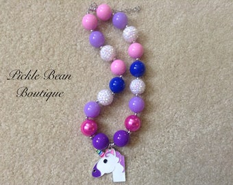 Unicorn Necklace, Purple and Pink Bubblegum Necklace, Chunky Baby Necklace, Girls Kids Necklace, Bubble Gum Necklace, 1st Birthday Outfit