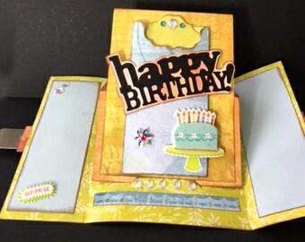 Happy Birthday Gate-Fold Pedestal Gift Card Holder Card, SVG & DS Compatible