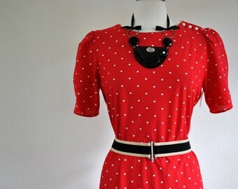 vintage 70s 80s red with white tiny squares plus size dress sz 18