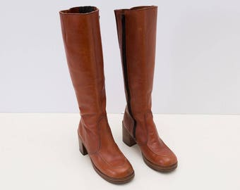1970s Vintage Ladies Tall Leather Boots, Round Toe, NEW stacked soles!