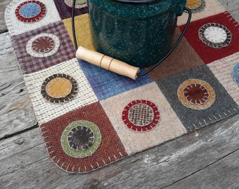 Wool penny rug, wool candlemat, patchwork penny rug