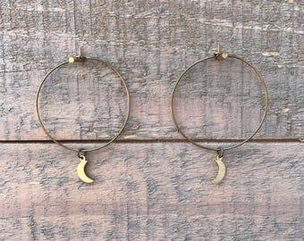 Delicate Crescent Moon Hoops