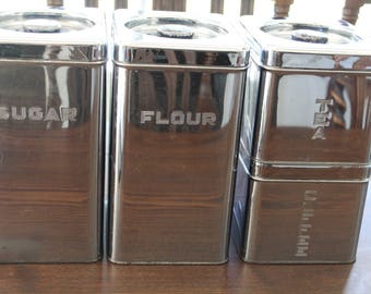 Vintage set of 4 Chrome Canister Set 1950s Container Midcentury Kitchen Decor Lincoln Beautyware