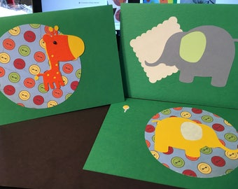 4 toddler designed b-day cards & envelopes