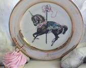 Gold Unicorn Plates, Durable & Foodsafe, Customizable, Unicorn China, Unicorn Dishes, Fairytale Plates, Horse Plates, Equine Dishes