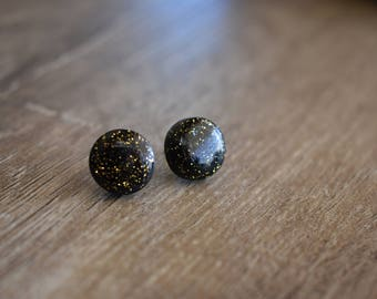 Black sparkle, glitter earrings, 12mm studs, handmade, polymer clay and resin, gift idea, prom, bridesmaid