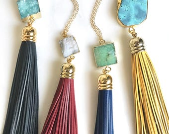 Tassel Necklace. Long Leather Boho Tassel Necklace. Bohemian Tassel Necklace. Turquoise Boho Tassel Jewlery. Layering Necklaces.