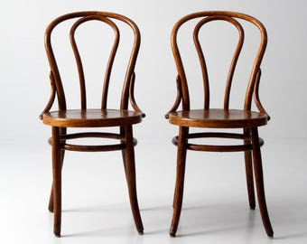 vintage bentwood chair pair, wood cafe chairs Thonet style set/2