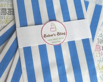 GLAMSALE 50 Royal Blue Stripe Paper Favor Bags, Royal Blue Candy Bags, Blue Wedding favor bags, popcorn bags, candy bags, gift bags
