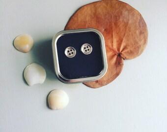 Little Silver button post earrings stud earring