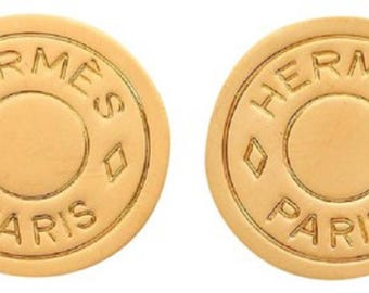 HERMES Clou de Sell Gold-Plated Earrings