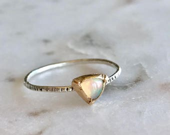 Ethiopian opal, gold and opal, silver opal ring, simple band, minimalist ring, opal ring, bridesmaid gift, stacker ring, opal stacker