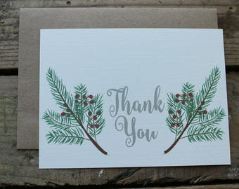 Christmas Thank You Cards with Envelopes / Holiday / Christmas Card / Rustic / Country Holly Berry