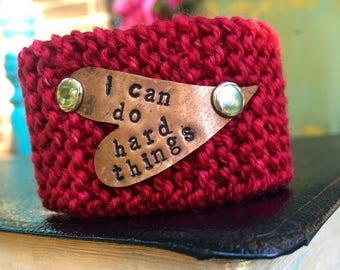 Custom Handstamped Knit Bracelet Cuff, Personalized Jewelry, Red and Copper Cuff Bracelet, Gift for Her