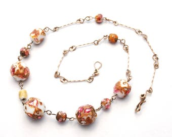 Antique Foil Glass - Art Glass - Bead Necklace - Venetian - Murano - Pink Gold White - Wedding Cake