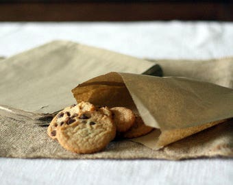 100  Small Kraft Paper Treat / Favor Bags - Square - Food crafting - Food Safe - - Cookies - Candy - Small Merchandise