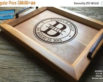 ON SALE Personalized Wood Tray, Engraved Serving Tray - Wedding Gift, Housewarming Gift, Anniversary Gift