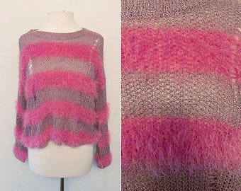 90's Cropped Punk Stripped Fuzzy Crocheted Sweater / Size Large