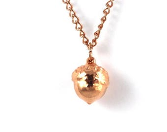 Real acorn rose gold pendant necklace with rose gold cable chain