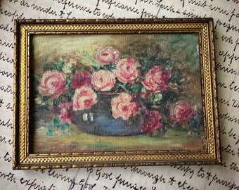 A Miniature Antique Cabbage Rose Painting So Pretty