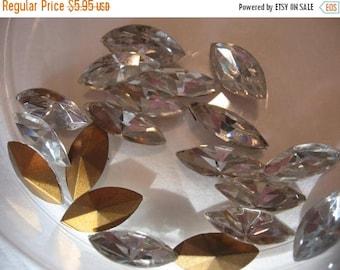 SPECIAL Vintage Swarovski Crystal Rhinestones Navettes15x7mm QTY - 2