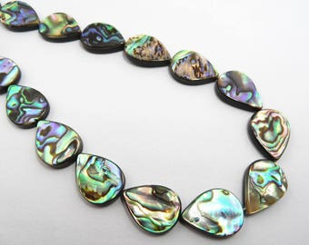 "Flat Waterdrop Natural Genuine Mother Pearl Shell Abalone Shell Beads Strand 15""L = 38cm Jewelry Making Supply TheTasteJewelry"