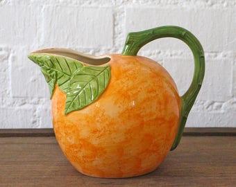 Vintage Orange Pitcher - Orange jug - Orange Juice Pitcher - Pitcher Collectible - Retro Pitcher - 60s