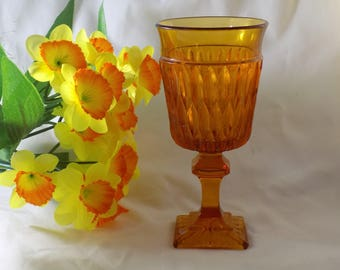 One 1970's Wine/Juice Amber Indiana Glass Square Foot Ribbed Goblet