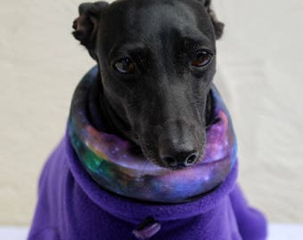 Italian Greyhound Clothing Purple Jammies with Galaxy Cosmos Space Print jersey lined Snood/Neck Warmer - measurements essential