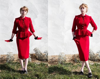 Red Velvet 1940s Suit Coat with Peplum & Skirt with Crystal Buttons, Wiggle Dress, Pencil Skirt, Tailored Jacket Size Sm Valentines Day