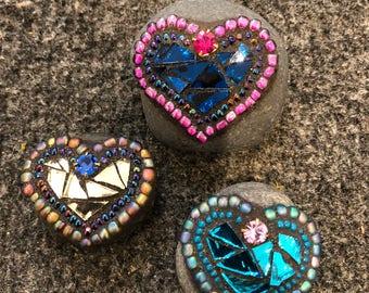 "Mini mosaic heart rocks ""rocks of live"""