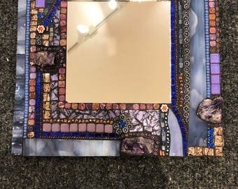 Mosaic Mirror with Amethyst