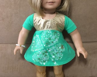 18 inch Doll (modeled by American Girl) St Patricks Set with coordinating bracelet