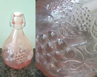 Pink Glass Fruit Wine Bottle 2 Liter  // Jus De Fruits Casadas Milano