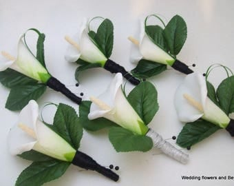 Real Touch Calla Lily Boutonnieres - White Calla lily Boutonnieres - Prom Boutonnieres - Black and White Boutonnieres - Buttonholes -