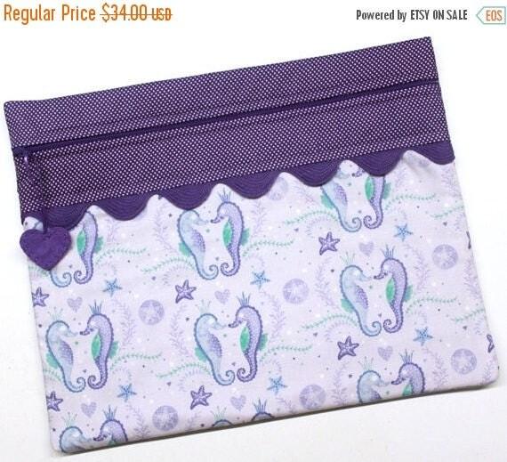 SALE Purple Sea Horse Cross Stitch Embroidery Project Bag
