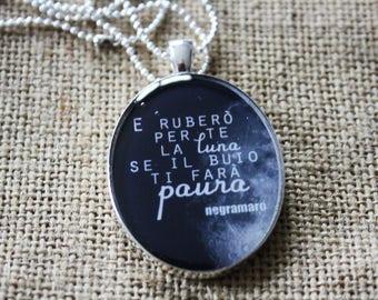 Negramaro Song Necklace,Music,Song,Lyrics,Resin Pendant,Resin Necklace,Resin Cameo