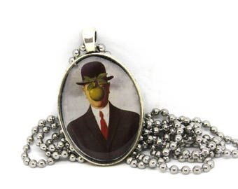 Surreal Art Necklace, Rene Magritte Pendant, Son of Man, Resin Cameo Tile Necklace, Art Jewelry, Art Lover Gift, Handmade Jewelry