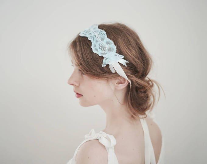 Bridal Headband, Blue Lace Headband, Vintage Lace Headband, Wedding Headband, Bridal Sash, Wedding Garter, Lace Garter