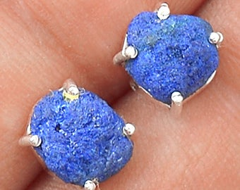 Petit, Sparkling, AZURITE Pebble Stud Earrings. Solid Sterling Silver. 4901